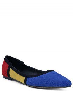 Pointed Toe Color Block Flat Shoes - Blue 36