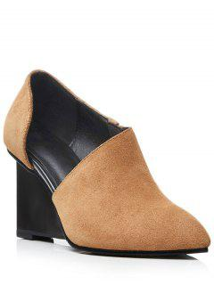 Cut Out Solid Color Wedge Shoes - Light Brown 36