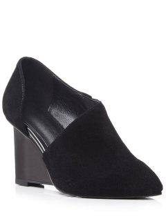 Cut Out Solid Color Wedge Shoes - Black 39