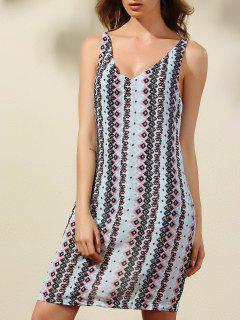 Argyle Print Plunging Neck Sleeveless Dress - L
