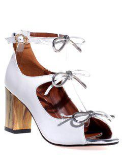 Peep Toe Bow Chunky Heel Sandals - White 36