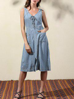 Double-V Lace Up Denim Dress - Bleu Clair S