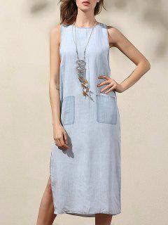 Drop Armhole Denim Dress - Blue S