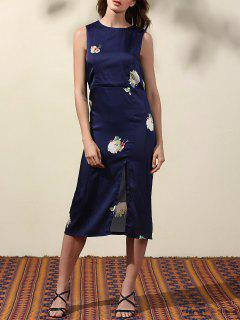 High Slit Blue Sheath Dress - Blue S