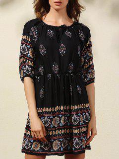 Lantern Sleeve Ethnic Print Dress - Black