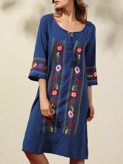 Floral Embroidery 3/4 Sleeve Scoop Neck Dress - Deep Blue L