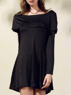 Robe Noire à Épaules Dénudées à Col Bateau Et Manches Longues - Noir S
