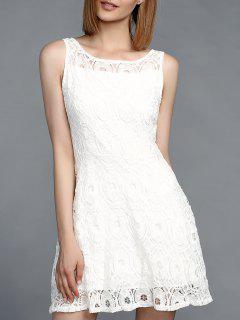 Vestido Sin Mangas Del Cordón De La Joya Impresionante Cuello Para Las Mujeres - Blanco S