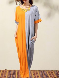 Loose Color Block Round Neck Bat-Wing Sleeve Dress - Orangepink S