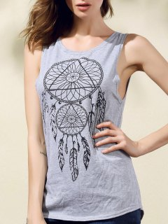 Backless Round Collar Printed High Low Hem Tank Top - Gray S