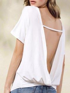 Abertura En La Espalda De Manga Corta Camiseta Blanca De - Blanco S