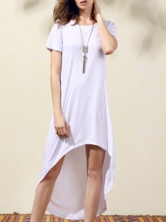 White High Low Round Neck Short Sleeve Dress - White S