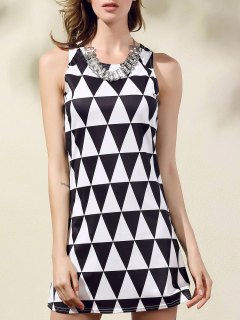 Geometric Pattern Round Collar Sleeveless Dress - White And Black Xl