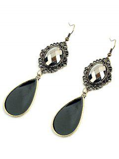 Baroque Style Jewelry Pendant Earrings - Blackish Green