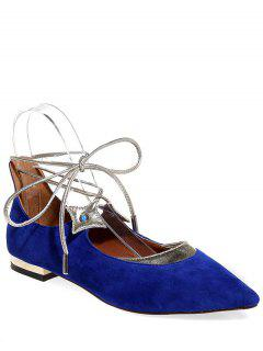 Pointed Toe Flock Lace-Up Flat Shoes - Blue 34