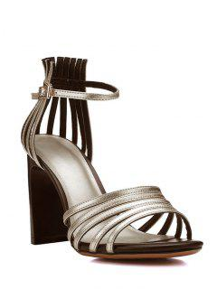 Strappy Solid Color Chunky Heel Sandals - Golden 39