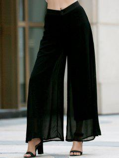 Two-Layered Chiffon Palazzo Pants - Black S