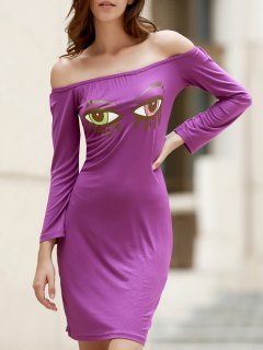 Off-The-Shoulder Eye Print Bodycon Dress - Purple L