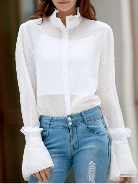 women Frilled Neckline See-Through Dotted Shirt - WHITE 2XL Mobile
