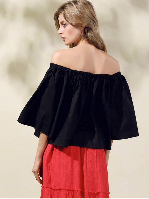 fancy Off-The-Shoulder Crop Top - BLACK ONE SIZE(FIT SIZE XS TO M) Mobile