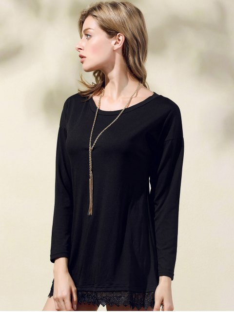 outfits Lacework Splicing Round Collar 3/4 Sleeve Black Dress - BLACK M Mobile
