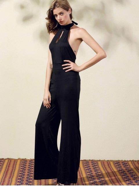 outfits Black Halter Wide Leg Jumpsuit - BLACK S Mobile