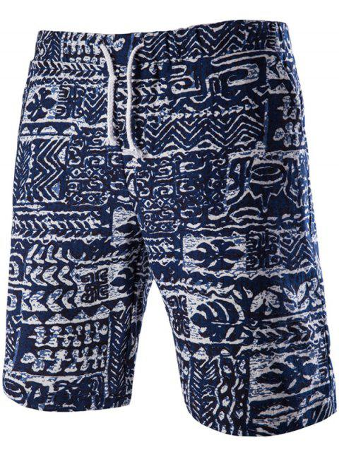 trendy Loose Fit Lace Up Printed Boardshorts - PURPLISH BLUE L Mobile