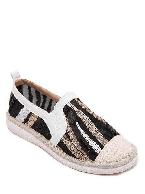 Farbblock Flache Schuhe mit Weberei und Pailletten - Weiß 37 Mobile