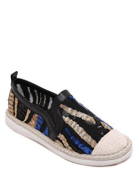 online Color Block Weaving Sequins Flat Shoes - BLACK 40 Mobile