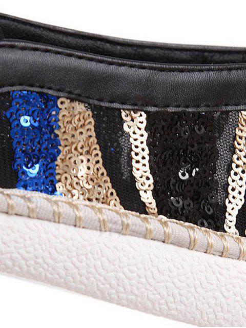 online Color Block Weaving Sequins Flat Shoes - BLACK 40 Mobile