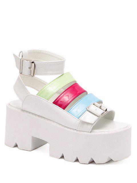 affordable Buckle Color Block Platform Sandals - WHITE 37 Mobile