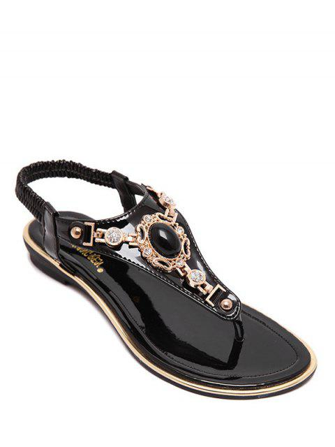 women's Faux Gem Flat Heel Elastic Sandals - BLACK 37 Mobile