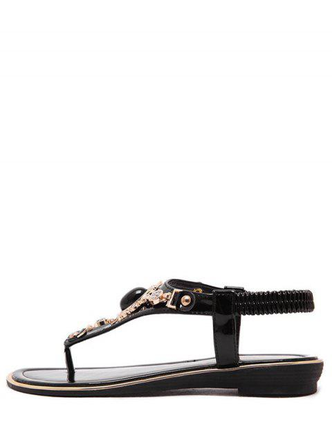women's Faux Gem Flat Heel Elastic Sandals - BLACK 37 Mobile