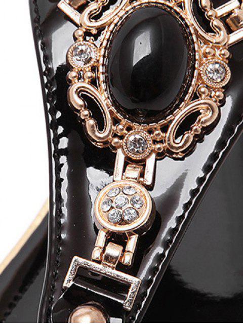 women Faux Gem Flat Heel Elastic Sandals - BLACK 39 Mobile