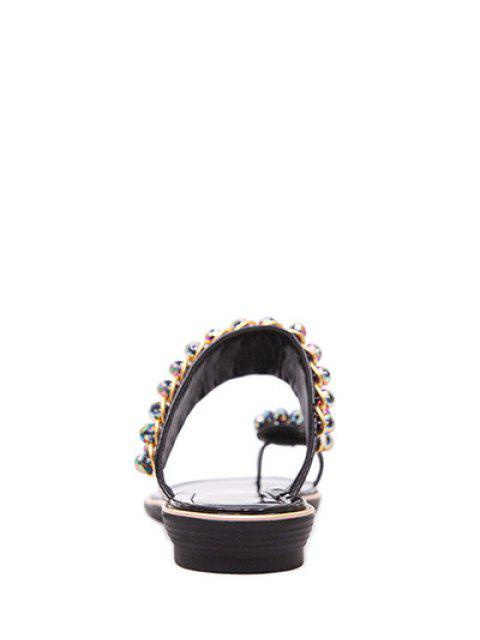 outfits Toe Ring Metal Rhinestone Slippers -   Mobile