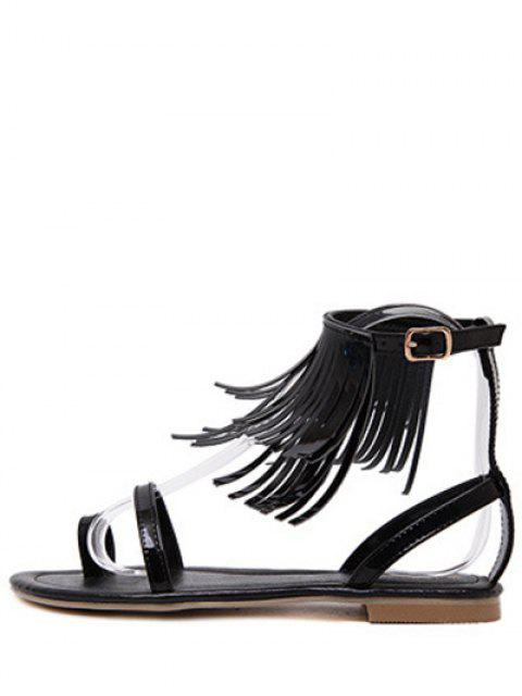chic Solid Color Fringe Flat Heel Sandals -   Mobile
