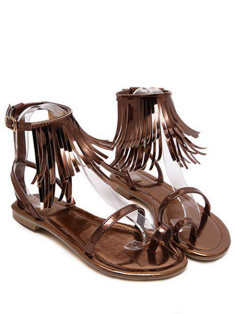 shop Solid Color Fringe Flat Heel Sandals -   Mobile