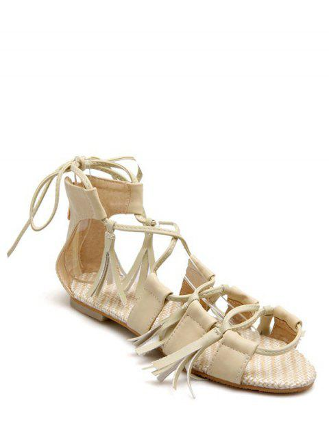womens Tassels Lace-Up Flat Heel Sandals - BEIGE 37 Mobile