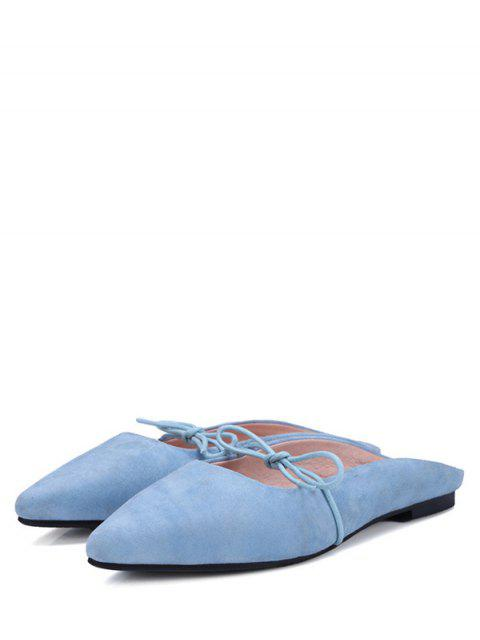 outfits Pointed Toe Bowknot Solid Color Sandals - LIGHT BLUE 37 Mobile