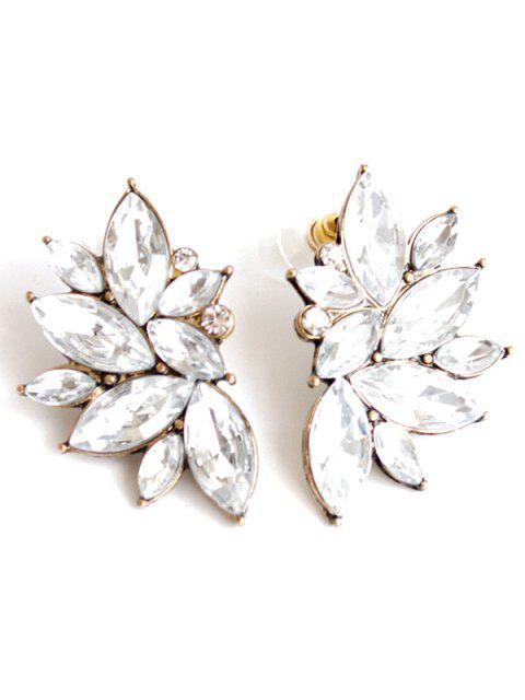 shops Rhinestone Stud Earrings - WHITE  Mobile