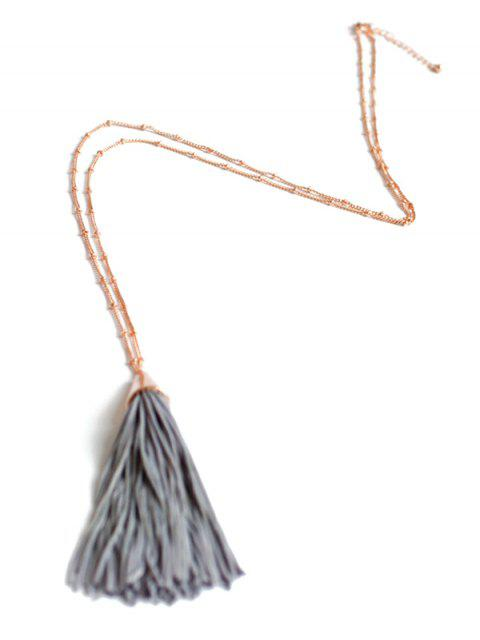 fashion Simple Tassel Pendant Sweater Chain - GRAY  Mobile