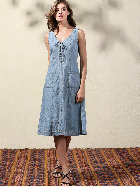 outfits Double-V Lace Up Denim Dress - LIGHT BLUE L Mobile