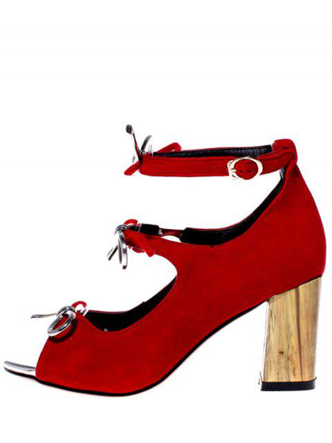 fancy Peep Toe Bowknot Chunky Heel Sandals - RED 37 Mobile