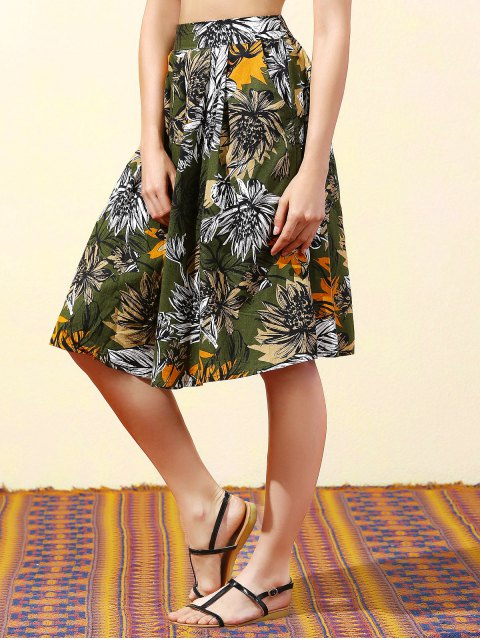 unique Full Floral High Waist Skirt - BLACKISH GREEN L Mobile