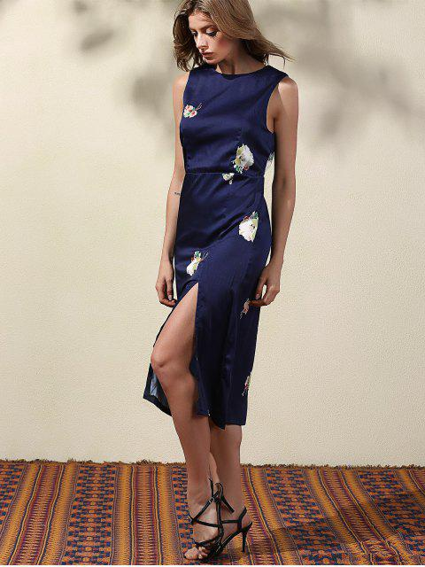 fancy High Slit Blue Sheath Dress - BLUE M Mobile
