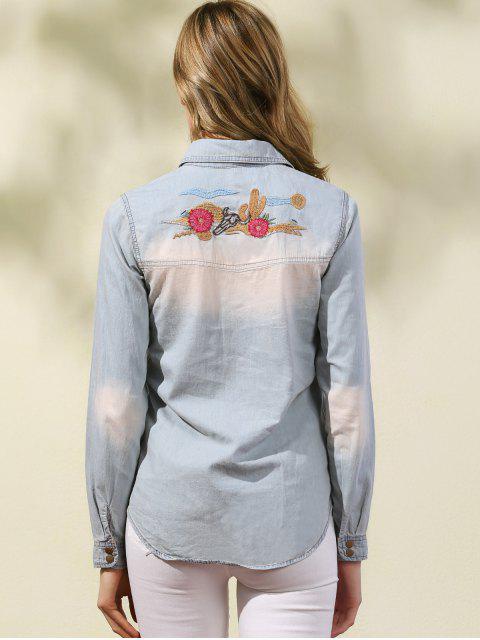 hot Embroidered Denim Overshirt - LIGHT BLUE L Mobile