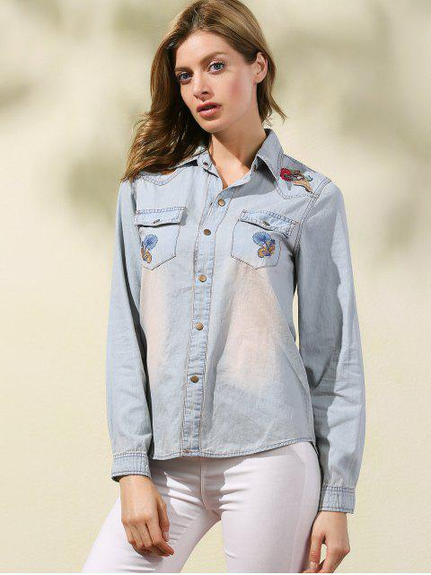 outfit Embroidered Denim Overshirt - LIGHT BLUE M Mobile