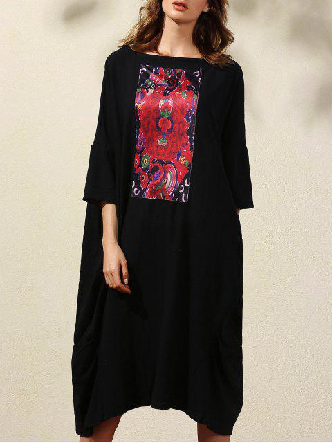 trendy Retro Print 3/4 Sleeve Round Neck Straight Dress - BLACK XL Mobile