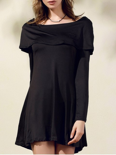 online Black Off The Shoulder Boat Neck Long Sleeve Dress - BLACK L Mobile