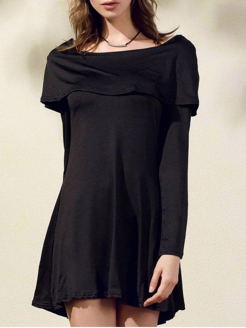 best Black Off The Shoulder Boat Neck Long Sleeve Dress - BLACK XL Mobile